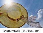 straw hat  blue sky  sunlight   ... | Shutterstock . vector #1101580184