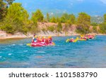 water rafting on the rapids of... | Shutterstock . vector #1101583790