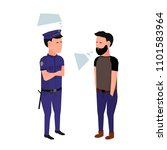 policeman in execution  talk... | Shutterstock .eps vector #1101583964