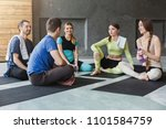 men and women in sportswear...   Shutterstock . vector #1101584759