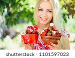 young tender blonde woman with... | Shutterstock . vector #1101597023