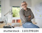 architect in office sitting on... | Shutterstock . vector #1101598184