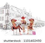 series of the street cafes with ... | Shutterstock .eps vector #1101602450