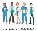 team of good doctors on a white ... | Shutterstock . vector #1101610766