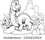 cartoon cute prehistoric... | Shutterstock .eps vector #1101613514
