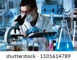researcher using digital tablet ... | Shutterstock . vector #1101614789
