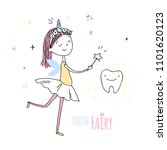 smiling tooth fairy. cute... | Shutterstock .eps vector #1101620123