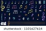 music notes doodles set. ... | Shutterstock .eps vector #1101627614