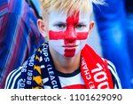 liverpool fan with a painted... | Shutterstock . vector #1101629090