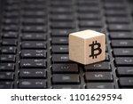wooden block with bitcoin... | Shutterstock . vector #1101629594