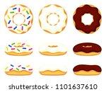 colorful cartoon various donut... | Shutterstock .eps vector #1101637610
