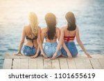 group of young attractive girls ... | Shutterstock . vector #1101655619