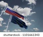 russia flag eu flag silk waving ... | Shutterstock . vector #1101661343