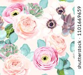 seamless flowers and succulents | Shutterstock .eps vector #1101669659