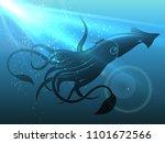 giant squid in deep water.... | Shutterstock .eps vector #1101672566