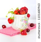 strawberry and cherry fruits on ... | Shutterstock . vector #1101680963