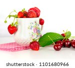 strawberry and cherry fruits on ... | Shutterstock . vector #1101680966