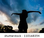 silhouette of girl reaching for ...