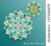 ramadan kareem with paper... | Shutterstock . vector #1101686609