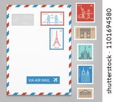 envelope with postage stamps... | Shutterstock . vector #1101694580
