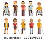 disabled people set. old and... | Shutterstock . vector #1101695183
