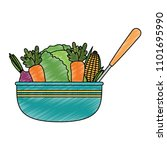 vegetables in kitchen bowl with ... | Shutterstock .eps vector #1101695990