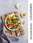 arugula  cucumber  tomato and... | Shutterstock . vector #1101696803