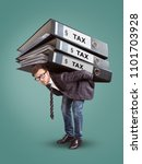 man carrying a giant stack of... | Shutterstock . vector #1101703928