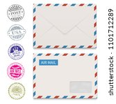 envelopes and grunge post... | Shutterstock . vector #1101712289