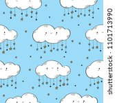 seamless pattern with cute... | Shutterstock .eps vector #1101713990