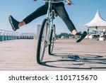 young woman having fun while... | Shutterstock . vector #1101715670