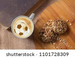 cappuccino for breakfast for a... | Shutterstock . vector #1101728309