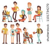 students reading books. young... | Shutterstock . vector #1101734270