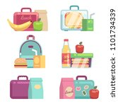 kids snacks. school lunch boxes ... | Shutterstock . vector #1101734339