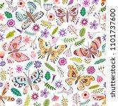 vector butterfly seamless... | Shutterstock .eps vector #1101737600
