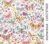 vector butterfly seamless... | Shutterstock .eps vector #1101737603