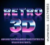 3d sci fi 80's retro alphabet... | Shutterstock .eps vector #1101745853