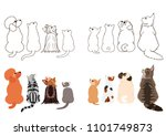 cats and small dogs looking up... | Shutterstock .eps vector #1101749873