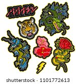 set trendy design embroidered... | Shutterstock .eps vector #1101772613