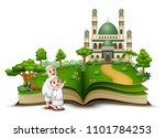 open book with happy muslim... | Shutterstock .eps vector #1101784253