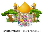 happy muslim kids cartoon in... | Shutterstock .eps vector #1101784313