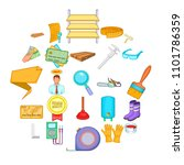 house reconstruction icons set. ... | Shutterstock .eps vector #1101786359