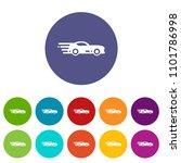 sport car icons color set...