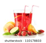 Sangria In Glasses With Fruits  ...