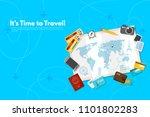 traveler's accessories.... | Shutterstock .eps vector #1101802283
