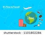 traveler's accessories.... | Shutterstock .eps vector #1101802286