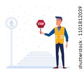 traffic security guard in...   Shutterstock .eps vector #1101812039