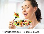 a beautiful girl eating healthy ... | Shutterstock . vector #110181626