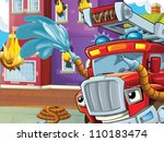 Brave firetruck to the rescue - putting down the fire - colorful illustration for the children - stock photo