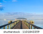 early morning on a fishing pier ... | Shutterstock . vector #1101843359